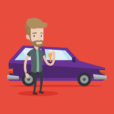 caucasians: Hipster man with the beard holding keys to his new car. Happy man showing key to his new car. Young caucasian man standing on the backgrond of new car. Vector flat design illustration. Square layout. Illustration