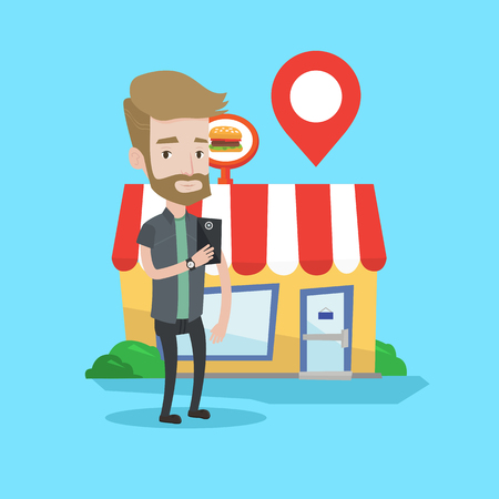 customer service phone: Hipster man holding smartphone with mobile app for looking for restaurant. Young man using smartphone on a background of restaurant with map pointer. Vector flat design illustration. Square layout.