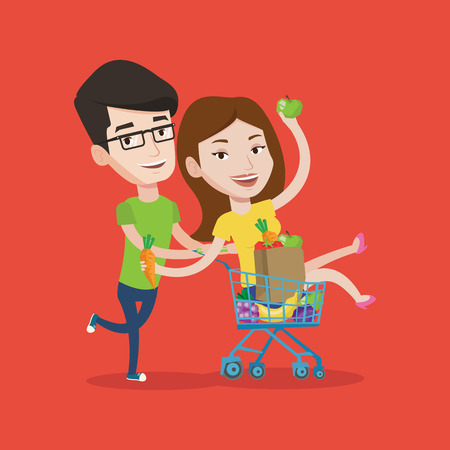 Couple of young carefree friends having fun while riding by shopping trolley. Happy man pushing a shopping cart with his girlfriend and healthy food. Vector flat design illustration. Square layout.