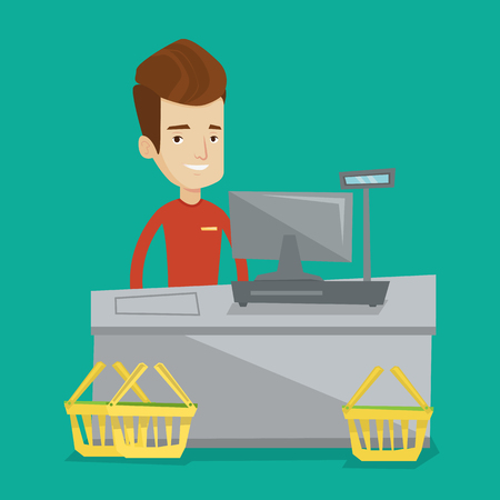 checkout: Young cashier standing at the checkout in supermarket. Male happy cashier working at checkout in a supermarket. Cashier standing near the cash register. Vector flat design illustration. Square layout.