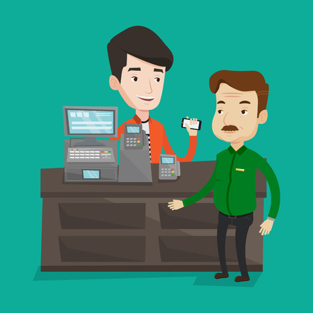 supermarket checkout: Man paying wireless with his smartphone at the supermarket checkout . Customer making payment for purchase with smartphone. Cashier accepting payment. Vector flat design illustration. Square layout.