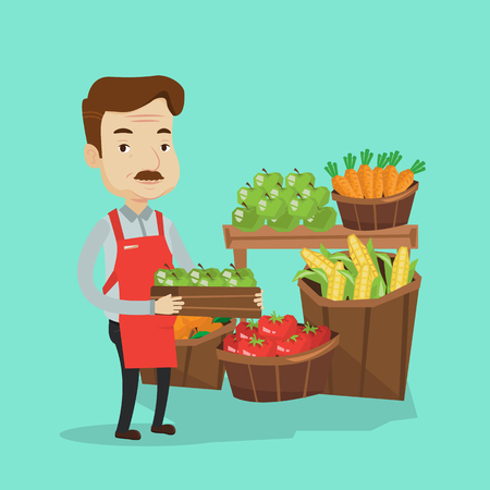 consumer goods: Mature male supermarket worker holding a box full of apples. Friendly worker of grocery store standing in front of section with vegetables and fruits. Vector flat design illustration. Square layout.