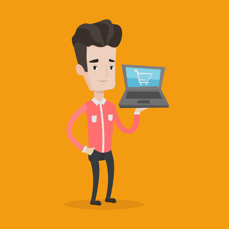 shopping trolley: Young caucasian man using laptop for shopping online. Happy male customer holding laptop with shopping trolley on a screen. Man doing online shopping. Vector flat design illustration. Square layout.