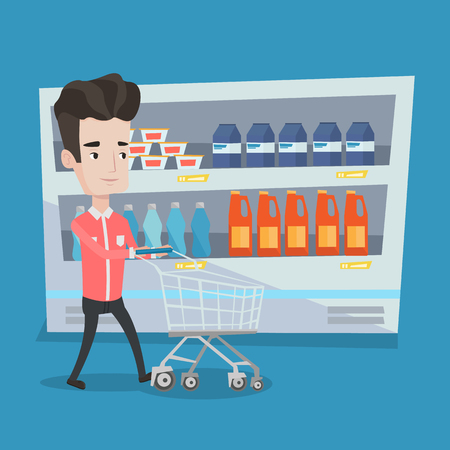 aisle: Young man pushing an empty supermarket cart. Customer shopping at supermarket with cart. Caucasian man walking with trolley on aisle at supermarket. Vector flat design illustration. Square layout. Illustration