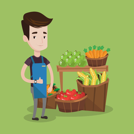 consumer goods: Young caucasian male supermarket worker giving thumb up while standing on the background of shelves with vegetables and fruits in supermarket. Vector flat design illustration. Square layout. Illustration