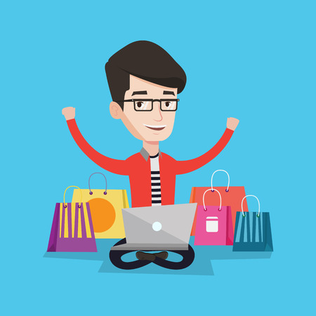 consumer goods: Young caucasian man with hands up using laptop for shopping online. Happy customer sitting with shopping bags around him. Man doing online shopping. Vector flat design illustration. Square layout.