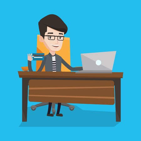 laptop home: Young man sitting at the table with laptop and holding a credit card in hand. Customer using laptop for online shopping. Man shopping online at home. Vector flat design illustration. Square layout.