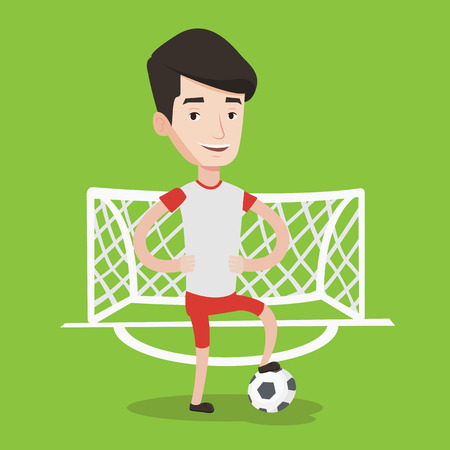 Young male sportsman standing with football ball on the football stadium. Happy professional football player standing with a soccer ball on the field. Vector flat design illustration. Square layout. Illustration