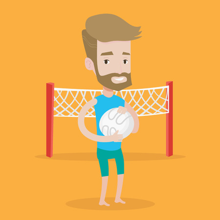 sportive: A hipster sportsman with the beard holding volleyball ball in hands. Sportive beach volleyball player standing on a background with voleyball net. Vector flat design illustration. Square layout.