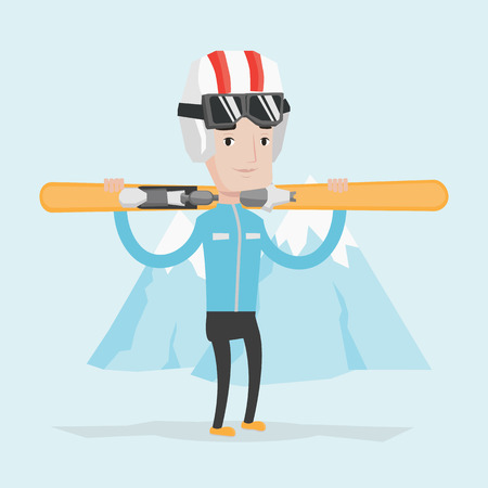 caucasian man: Smiling caucasian man carrying skis. Sportsman standing with skis on his shoulders on the background of snow capped mountain. Young man skiing. Vector flat design illustration. Square layout. Illustration