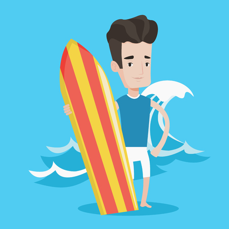 surf board: Young man standing with a surfboard on the beach. Professional surfer with a surf board at the beach. Surfer standing on a background of huge sea wave. Vector flat design illustration. Square layout. Illustration