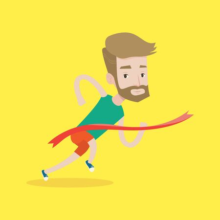 square tape: Cheerful winner crossing finish line. Young caucasian smiling athlete winning marathon. A hipster sprinter with the beard breaking the tape. Vector flat design illustration. Square layout.