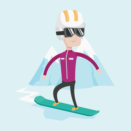 piste: Caucasian man snowboarding on the background of snow capped mountain. Snowboarder on piste in mountains. Young man snowboarding in the mountains. Vector flat design illustration. Square layout.