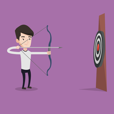 sportsmen: Young caucasian sportsman shooting with bows during archery competition. Bowman aiming with bow and arrow at the target. Archer practicing with bow. Vector flat design illustration. Square layout. Illustration