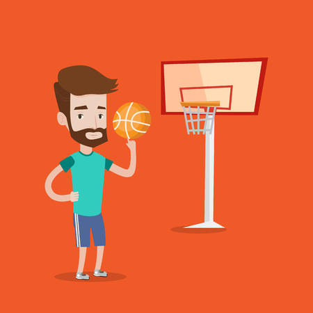 courts: Hipster man with the beard spinning basketball ball on his finger. Young basketball player standing on the basketball court. Basketball player in action. Vector flat design illustration. Square layout