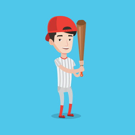Full length of young smiling baseball player wearing uniform. Professional baseball player standing with a bat. Cheerful baseball player in action. Vector flat design illustration. Square layout. Illusztráció