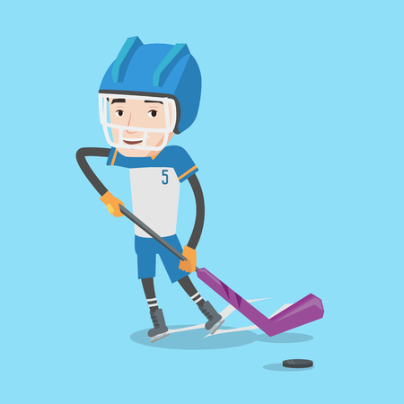 ice hockey player: Young ice hockey player skating on ice rink. Ice hockey player with a stick. Sportsman playing ice hockey. Vector flat design illustration. Square layout.