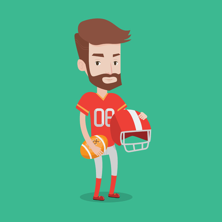 caucasians: A hipster rugby player with the beard holding ball and helmet in hands. Young caucasian male rugby player in uniform. Vector flat design illustration. Square layout.