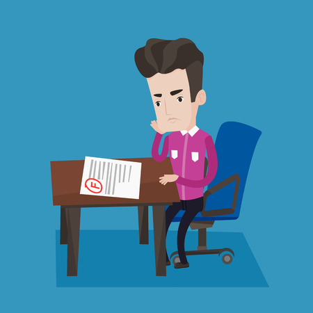 Sad young student looking at test paper with bad mark. Student disappointed F grade. Student dissatisfied with the test results. Concept of education. Vector flat design illustration. Square layout. Illustration