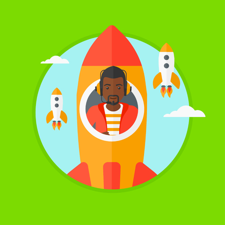 taking off: African-american businessman in headphones flying in the rocket. Successful business start up concept. Business rocket taking off. Vector flat design illustration in the circle isolated on background.