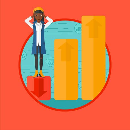 market bottom: An african-american frightened bankrupt clutching her head. Bankrupt standing on chart going down. Concept of business bankruptcy. Vector flat design illustration in the circle isolated on background. Illustration