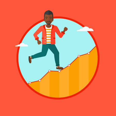 runner up: An african-american cheerful businessman running along the growth graph. Businessman going up. Successful business concept. Vector flat design illustration in the circle isolated on background.
