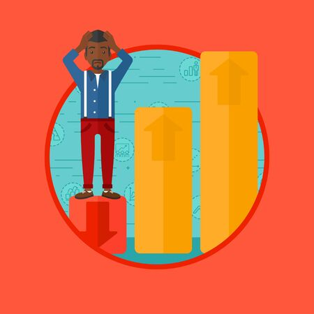 An african-american frightened bankrupt clutching his head. Bankrupt standing on chart going down. Concept of business bankruptcy. Vector flat design illustration in the circle isolated on background. Illustration