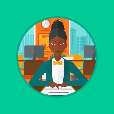 signing papers: An african business woman signing business documents. Woman is about to sign a business agrement. Confirmation of transaction by signing of contract. Vector flat design illustration in the circle. Illustration
