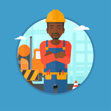 An african-american confident builder in hard hat with arms crossed standing on a background of construction site, road works. Vector flat design illustration in the circle isolated on background.