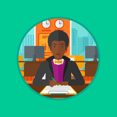 legal contract: An african businessman signing business documents. Man is about to sign a business agrement. Confirmation of transaction by signing of business contract. Vector flat design illustration in the circle.