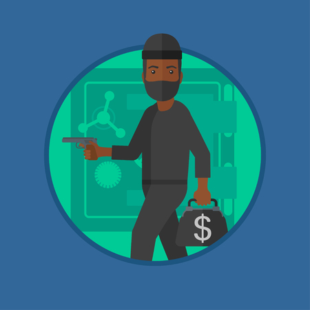 burglar: An african burglar in mask standing near safe door. Burglar holding hand gun and a bag with dollar sign. Thief stealing money. Vector flat design illustration in the circle isolated on background.