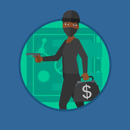 heist: An african burglar in mask standing near safe door. Burglar holding hand gun and a bag with dollar sign. Thief stealing money. Vector flat design illustration in the circle isolated on background.