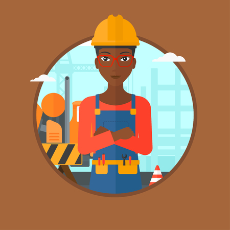 hard: An african-american female confident builder in hard hat with arms crossed standing on a background of construction site. Vector flat design illustration in the circle isolated on background.