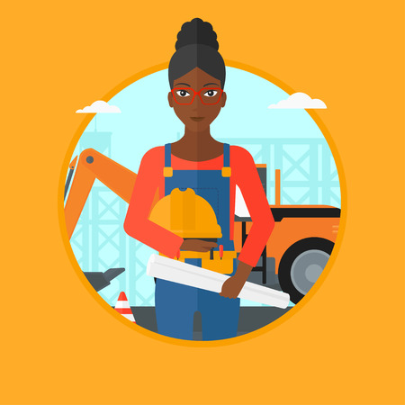 checking: An african-american engineer holding a twisted blueprint and hard hat at construction site. Woman checking construction works. Vector flat design illustration in the circle isolated on background. Illustration