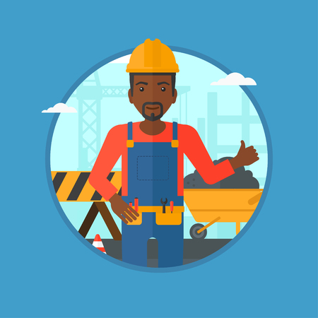 construction helmet: An african-american builder in helmet giving thumb up. A builder with thumb up on a construction site. Man giving thumb up on a background of road works. Vector flat design illustration in the circle.