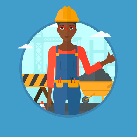 An african-american builder in helmet giving thumb up. Builder with thumb up on a construction site. Woman giving thumb up on a background of road works. Vector flat design illustration in the circle. Illustration