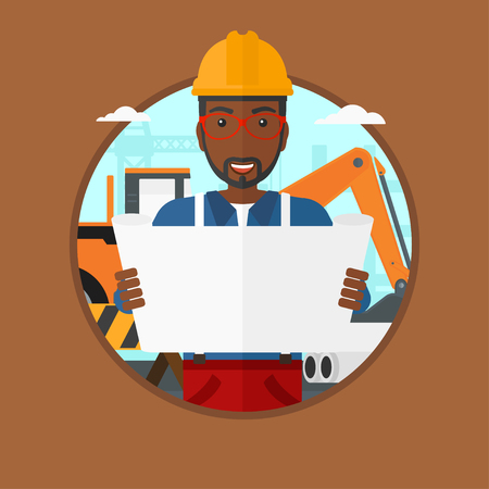 building site: An african-american engineer watching a blueprint at construction site. Man with engineer blueprint. Engineer holding a blueprint. Vector flat design illustration in the circle isolated on background.