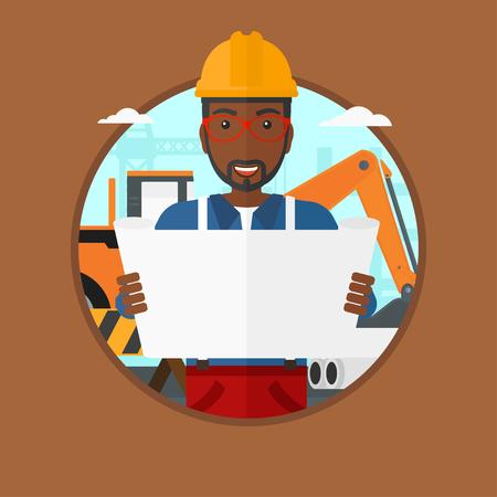 arquitecto caricatura: Un ingeniero africano-americano viendo un modelo en el emplazamiento de la construcción. El hombre con el modelo ingeniero. El ingeniero celebración de un plan. Vector ilustración de diseño plano en el círculo aislado en el fondo. Vectores