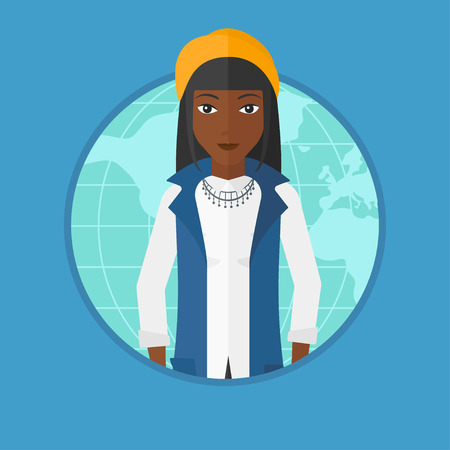 african business: An african business woman standing on map background. Business woman taking part in global business. Global business concept. Vector flat design illustration in the circle isolated on background.