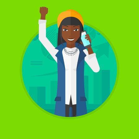 An african-american woman getting good news on mobile phone on the background of growing chart. Stockbroker at stock exchange. Vector flat design illustration in the circle isolated on background. Illustration