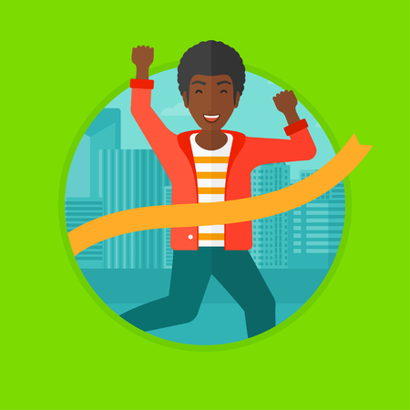 happy businessman: An african-american happy businessman running at the finish line. Businessman crossing finish line. Concept of business success. Vector flat design illustration in the circle isolated on background.