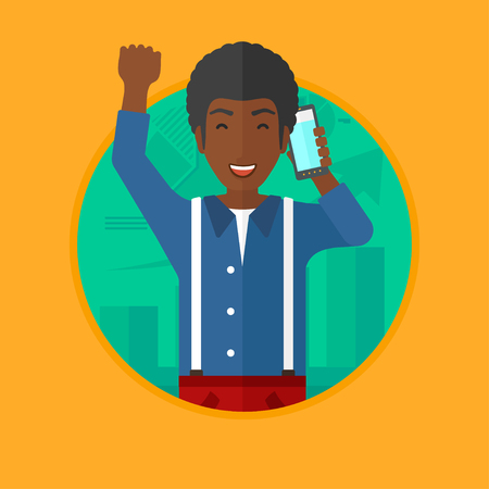 stockbroker: An african-american man getting good news on mobile phone on the background of growing chart. Stockbroker at stock exchange. Vector flat design illustration in the circle isolated on background.
