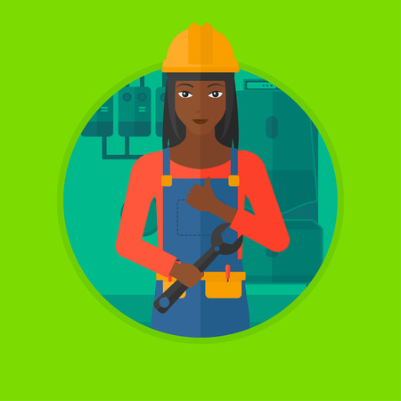 boiler room: An african-american repairman with a spanner in hand. A repairman giving thumb up. A repairman at domestic household boiler room. Vector flat design illustration in the circle isolated on background.