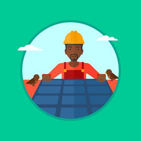 Un uomo africano-americano installazione di pannelli solari sul tetto. Tecnico in inuform e cappello rigido controllo pannelli solari sul tetto. Vector design piatto illustrazione nel cerchio isolato su sfondo.