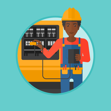 An african-american man measuring the voltage output. Electrician with electrical equipment standing in front of switchboard. Vector flat design illustration in the circle isolated on background. Illustration