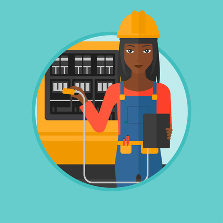 switchboard: An african-american woman measuring the voltage output. Electrician with electrical equipment standing in front of switchboard. Vector flat design illustration in the circle isolated on background.