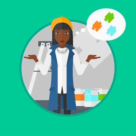 choosing: An african-american doubtful woman choosing color for walls in apartment. Young woman with spread arms choosing a color of paint. Vector flat design illustration in the circle isolated on background.