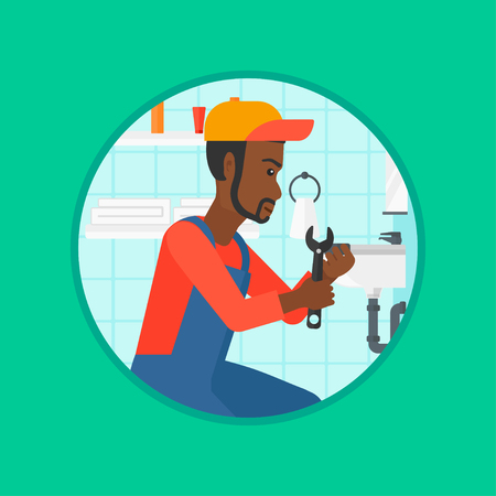 sewer: An african-american plumber sitting in a bathroom and repairing sink pipe. Plumber with wrench repairing a broken sink in bathroom. Vector flat design illustration in the circle isolated on background