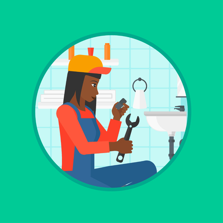 wash basin: An african-american plumber sitting in a bathroom and repairing sink pipe. Woman with wrench repairing a broken sink in bathroom. Vector flat design illustration in the circle isolated on background.