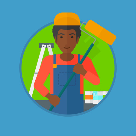 house painter: An african-american painter in uniform with a paint roller in hands. Painter at work in an apartment with paint cans and ladder. Vector flat design illustration in the circle isolated on background.